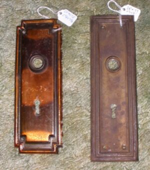 Picture of antique door plates.