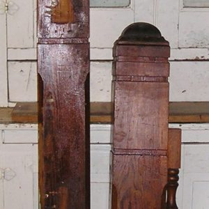 Set of 2 Victorian Fir Newel Posts and One-of-a-Kind Balustrade